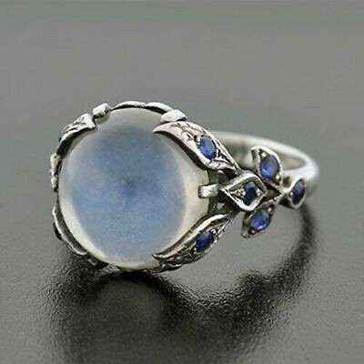 Women Rainbow Moonstone Ring Oval 925 Plated Silver Natural Gemstone Jewelry