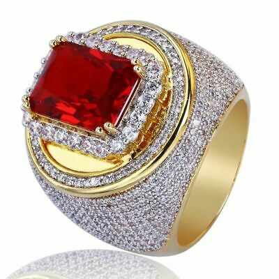 Fashion Men's Jewelry 18K Yellow Gold Plated Red Ruby Gems Ring Wedding Sz 6-10