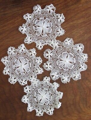 """set of 4 antique doilies/mats white Tenerife lace 5"""" in diameter, lovely lace!"""