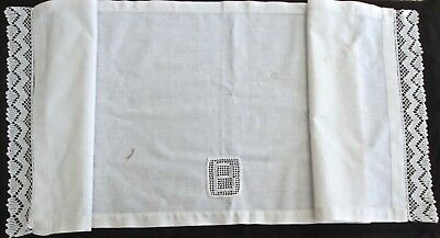"""antique linen pillow layover w inset 'B' ~19"""" by 49""""+2"""" crocheted lace edges"""