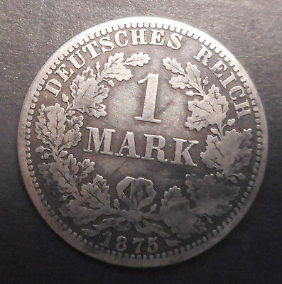 Germany   1875 A      Silver 1 mark Coin  Nice