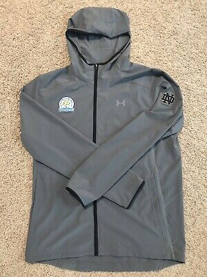 c0b077e5e93d94 Notre Dame Football Under Armour Team Issued Full Zip Citrus Bowl Jacket  Large