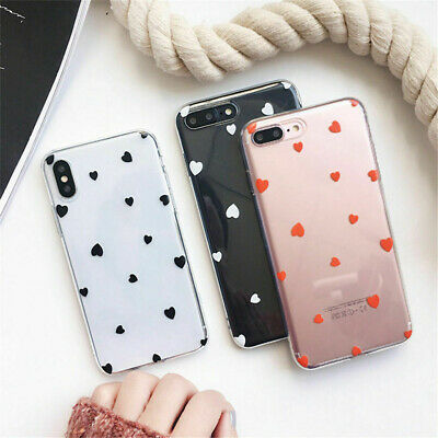 Antichoc silicone coeur motif coque protection pour iPhone XS Max XR 6 7 8 Plus