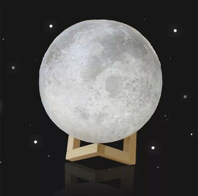 3D Printing Moon Lamp Warm And Cool White Dimmable Lighting Night Light LED NEW