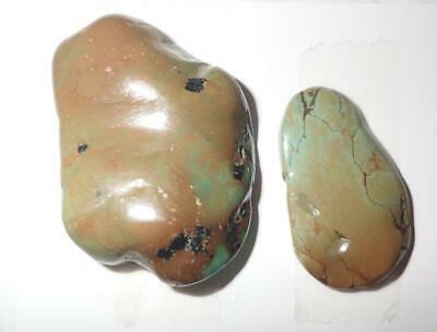 Turquoise Rough Stone Surface Flat Bottom Free Form Cab 172 Carat 2 pieces