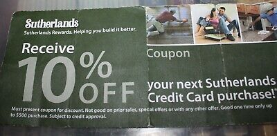 SUTHERLANDS HOME DEPOT LOWES 10% OFF Coupon In-Store Store