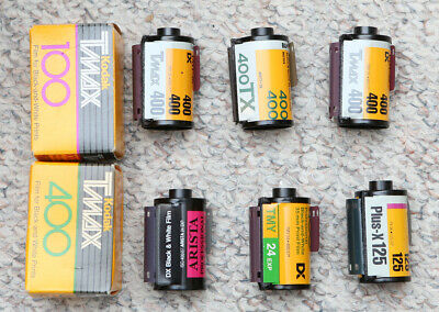 8 rolls of B/W 35mm film, various ISO - Expired