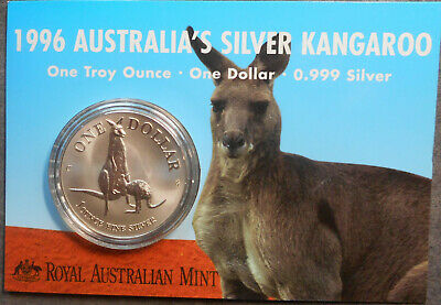 Australia 1996   $1 Kangaroo Silver 1oz specimen coin carded  comes with plastic