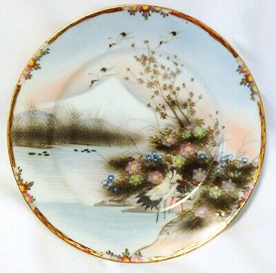 Antique Japanese Plate Cranes by Water Mt Fuji ? Signed
