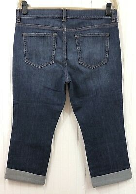 New York & Company NWT Women's Size 12 Denim Cropped Capri Jeans Cuffed Leg
