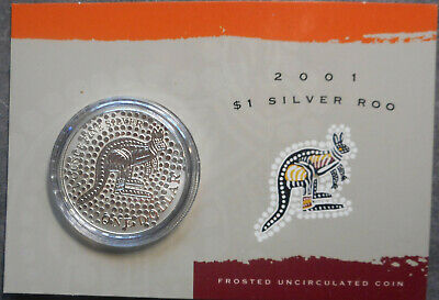 Australia 2001  $1 Kangaroo Silver 1oz specimen coin carded  comes with plastic