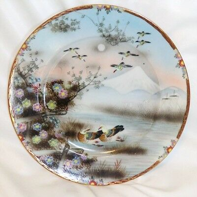 Antique Japanese Plate Ducks & Flowers by Water Mt Fuji ? Signed