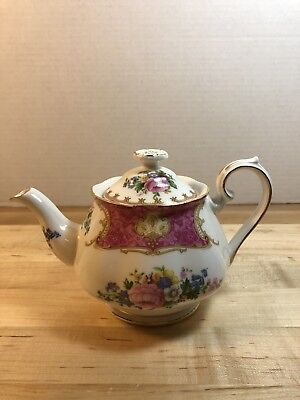 Royal Albert Lady Carlyle Floral Gold Trim Small Teapot Made in England