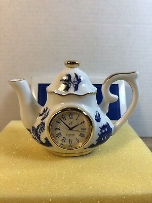 Cardew Small Blue Willow Teapot Clock in Box