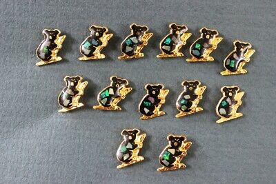 25xAustralian Made 24K Gold Plated/Genuine OPAL'Koala on Branch' Hat/Lapel Pins