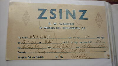 Old Vintage Qsl Ham Radio Card Postcard, Kenilworth Cape Town South Africa 1957