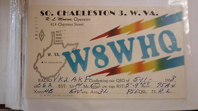 Old Vintage Qsl Ham Radio Card Postcard, Charleston West Virginia 1958