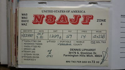 Old Vintage Qsl Ham Radio Card Postcard, Farmington Hills Michian 1981