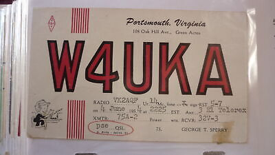 Old Vintage Qsl Ham Radio Card Postcard, Portsmouth Virginia 1954