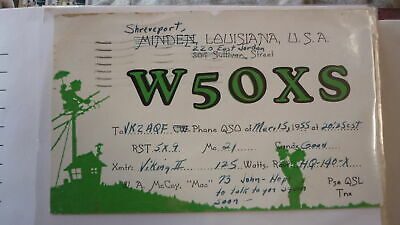 Old Vintage Qsl Ham Radio Card Postcard, Shreveport Louisiana 1955