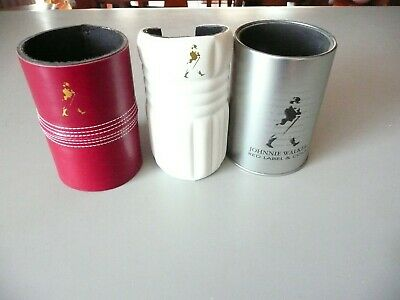 JOHNNIE WALKER Stubby holders x 3. Cricket Ball, Pad and Metallic. Whisky