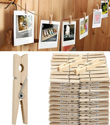 50-200 Natural Mini Wooden Craft Clothes Pins Peg Wood Crafting Cardmaking 25mm