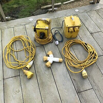 240V To 110V Transformer X2 Cables Extension Cable 1 To 3 Socket Site