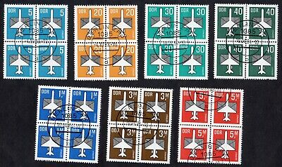 East Germany: 1982 Airmail stamps in blocks of 4; fine used short set