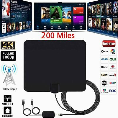 200 Mile Ultra Thin Flat Indoor HDTV Amplified HD TV Black Antenna US For Fosmon