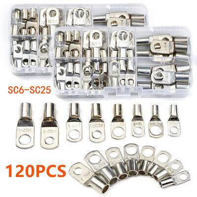 120PCS Assorted Electrical Wire Copper Lug Cable Connector Terminal SC6-SC25 Set