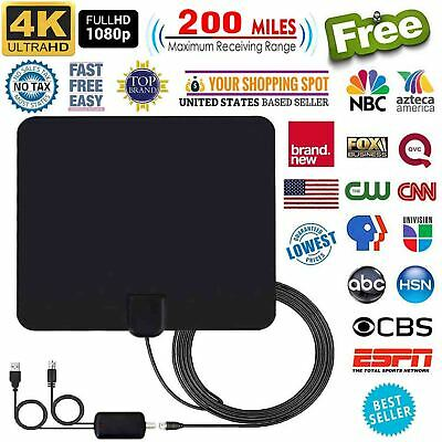 4K 1080P Free HD programs Digital HDTV Antenna UHF VHF FM 200 Miles 13FT Cable