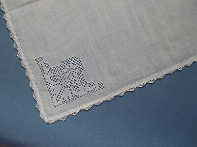 Vintage Embroidered Very Delicate Handkerchief With Hand-Crocheted Edging