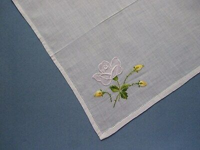 Vintage Embroidered Hand-Crafted Organza Handkerchief With White Rose