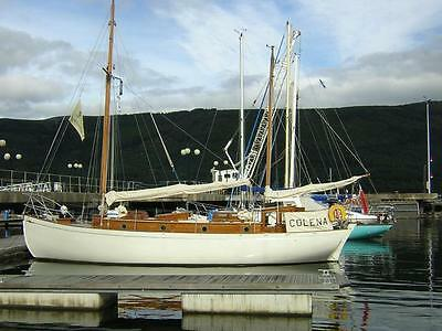 Classic wooden sailing cruising yacht all teak Fife gaff ketch fully renovated
