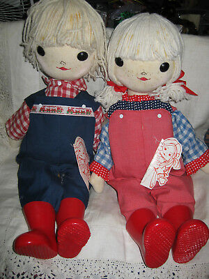 "16"" English Cloth Dolls Pair- West Country Boy And Girl-Hand Made In Cornwall"