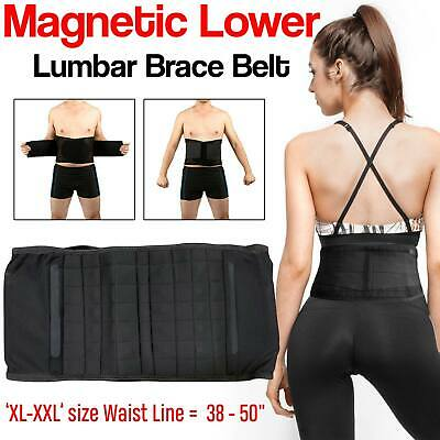 Magnetic Lower Back Belt Brace Pain Relief Adjustable Double Pull Lumbar Support