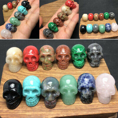 12pc 12 colors Small Natural Quartz Crystal Skull Carving Reiki Healing Stone US