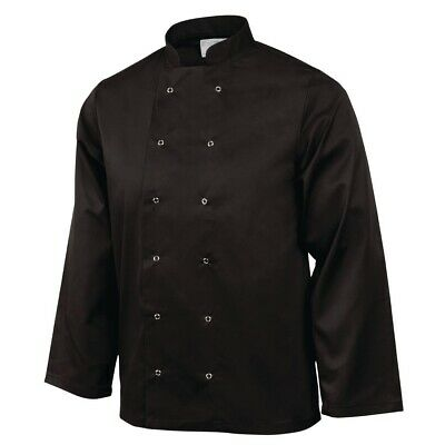 Whites Vegas Chefs Jacket with Long Sleeves in Black - Polycotton - XXL