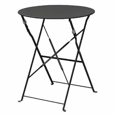 Bolero Pavement Style Round Table in Black with Steel Frame & Top 710x595mm
