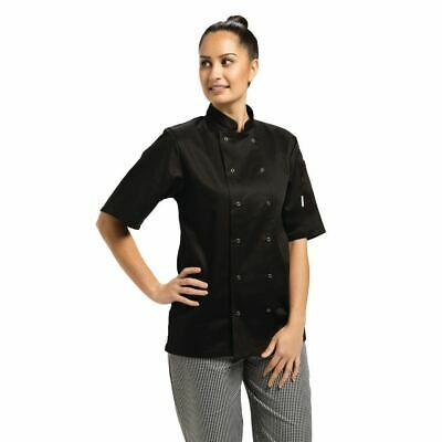 Whites Vegas Unisex Chefs Jacket with Short Sleeve in Black - Polycotton - XS