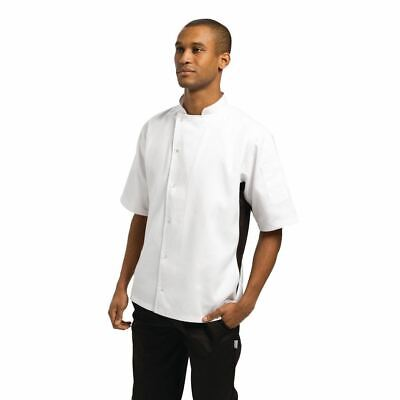 Whites Nevada Chefs Jacket in Black and White with Short Sleeves - XL