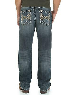 bb300ee6962 WRANGLER ROCK 47 Mens Relaxed Blue Jeans Thick Stitch Embroid ...