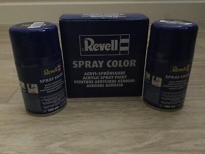 Pair Of (X2) Revell Spray Color Paint For Acrylic MATTE BLACK 200ml