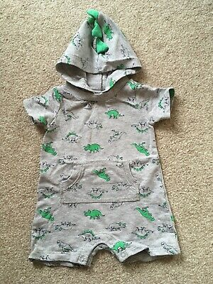 Baby Boy Grey Hooded Romper With Dinosaur Design By Carter's Age 6/9 Months