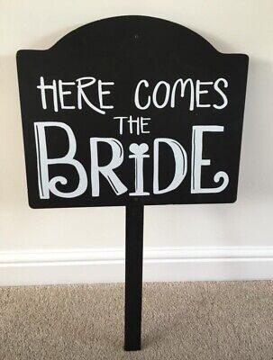 Wedding signs here comes Bride Kiss forever photo booth props vintage shabby new