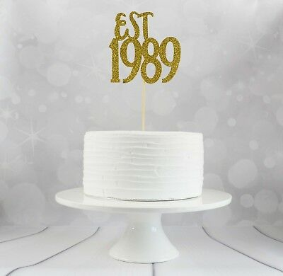 Est 1989 Birthday Cake Topper 30th Party Decorations Glitter Card