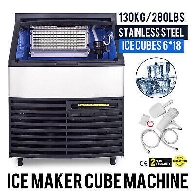 Ice Cube Maker Machine 130Kg//287Lbs Commercial Auto-control Stainless Steel 750W