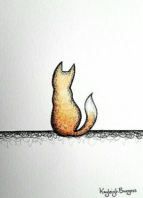 Paintings Small Watercolour Painting Picture Fox Foxes Vixen Dog Original A5 Puppy Cute 2