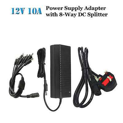12V 10A Power Supply Adapter with 8 Way Splitter for CCTV Camera DVR NVR LED str