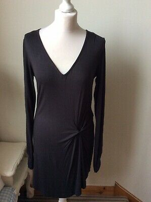 FAT FACE Dark Grey V Neckline, Long Tunic Top Size 12 Long Sleeve Twisted Detail